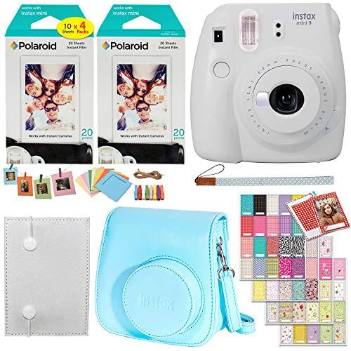 Fujifilm Instax Mini 9 Instant Camera (Smokey White), 2 x Twin Pack Instant Film (40 Sheets), Camera Case, Photo Album, Square Photo Frames & Accessory Bundle from Fujifilm