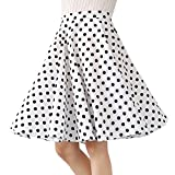 100% Cotton Polka Dot Floral 50s Vintage Retro Swing Full Circle Skirt (Large, White Black Polka Dot)
