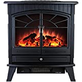 23 in. Freestanding Electric Fireplace Stove Heater in Black with Vintage Glass Door, Realistic Flame and Logs