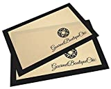 Gourmet Boutique Chic Professional Silicone Non-Stick Baking Mat 2pc Twin Pack Set for Half Size Cookie Sheets