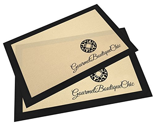 Gourmet Boutique Chic Professional Silicone Non-Stick Baking Mat 2pc Twin Pack Set for Half Size Cookie Sheets -