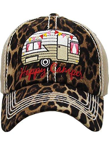 Distressed Vintage Style Leopard Print Happy Camper Hat Baseball Cap (Beige)