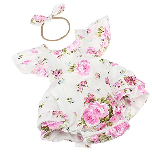 Luckikikids Baby Girls Cotton Vintage Floral Ruffle Rompers Clothing Headband Set (M(6-12M), White) ()