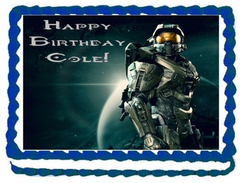 Halo Edible Image Cake Topper Birthday Cake PERSONALIZED FREE