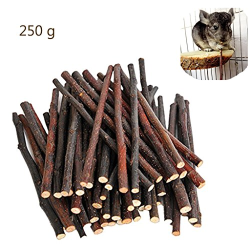 250g Organic Apple Sticks Wood Tree Branches Pet Snacks Chew Toys Branch for Guinea Pigs Chinchilla Squirrel Rabbits Hamster Small Animals - Branch Bites