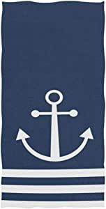 Naanle Nautical White Stripe Anchor Navy Blue Highly Absorbent Soft Large Decorative Guest Hand Towel for Bathroom, Hotel, Gym and Spa (16 x 30 Inches)