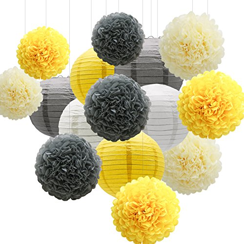 KAXIXI Hanging Party Decorations Set, 15pcs Yellow Gray White Paper Flowers Pom Poms Balls and Paper Lanterns for Wedding Birthday Bridal Sunshine Baby Shower -