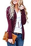 Steven McQueen Women's Solid Button Front Knitwears Long Sleeve Casual Cardigans Plum M