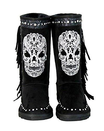 Montana West Rhinestone Fringe Sugar Skull Day of The Dead Winter Boots Gothic Biker Black (8, White) ()