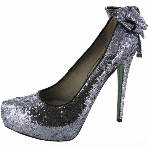Lisa Per Donald J Pliner Donna Alba Pompa Scarpa In Peltro Glitterato