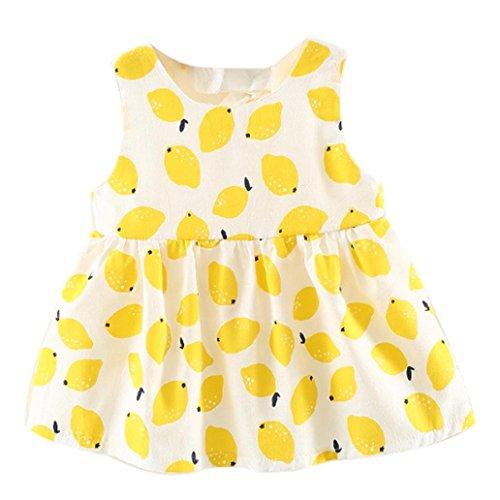 - Sagton® Baby Dresses,Kids Toddler Girls Lemon Print Dress Sleeveless Cotton Dresses Clothes Outfits (Yellow, 12-18M)
