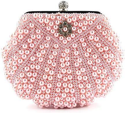 ハンドバッグ - ヨーロッパやアメリカのスタイルの真珠シェルバッグの女性のファッション創造的なイブニングバッグ、17センチメートル* 21センチメートル* 4.5センチメートル よくできた (Color : Pink)