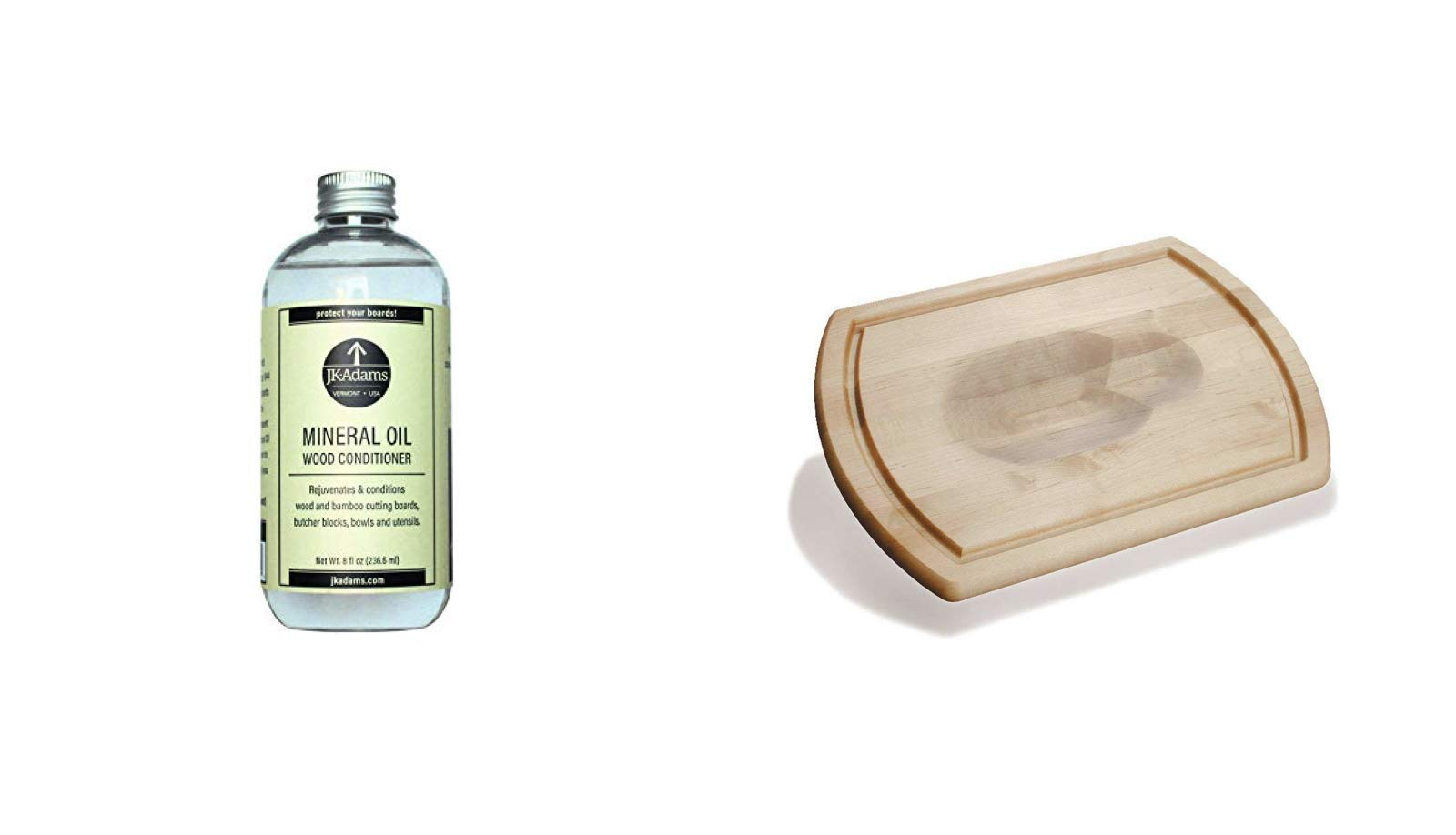 J.K. Adams Large Reversible Maple Carving Board and 8-Ounce Mineral Oil Wood Conditioner Bundle