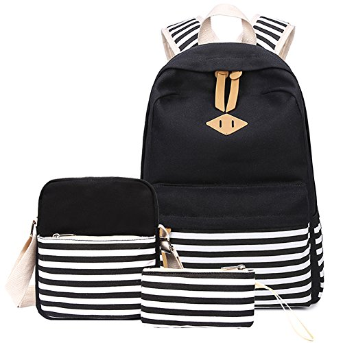 Abshoo Causal Canvas Stripe Backpack Cute Lightweight Teen Backpacks For Girls School Bag Set (Black Set)
