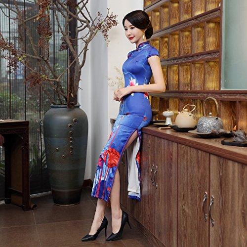 Acvip Robe Cheongsam Lotus Longue Soirée De Femme Qipao Traditionnel Motif Bleu Chinoise rRC5xwtrgq