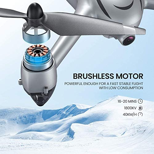 Potensic D80 GPS Drone with Camera for Adults, 2K FHD Camera, 2 Batteries 40 Mins Quadcopter with Brushless Motor, Auto Return Home, Follow Me, Long Control Range, Includes A Carrying Case-Sliver 51RAuLVVVaL