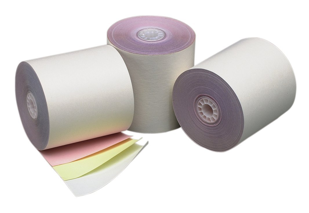 PM Company Perfection POS/Cash Register Rolls, 3 Inches X 70 Feet, White/Canary/Pink, 50 per Carton (07638)