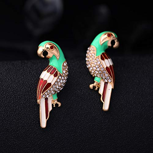 Wanmei-erhuan Fashion Crystal Enamel Parrot Bird Earrings For Women Symmetric Personalized Stud Earrings Jewelry