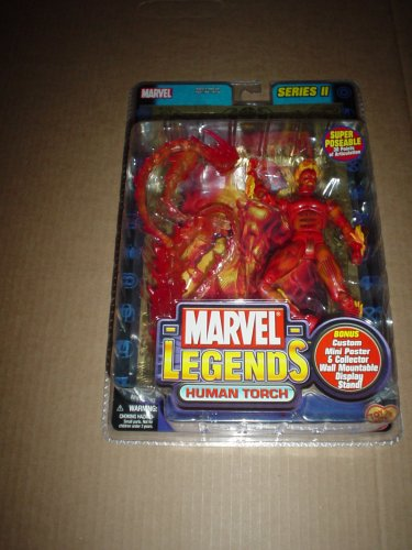 Marvel Legends, Series 2: Human Torch 6-inch Action Figure with Metallic Gold-Bordered Large Card