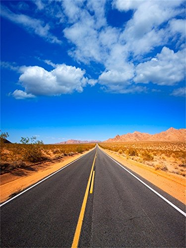 Laeacco 4X5FT Vinyl Photography Background Mohave Desert Route 66 California Yucca Valley USA Highway Express Blue Sky White Clodus Background Scenic Nature Children Shooting Video Studio Props
