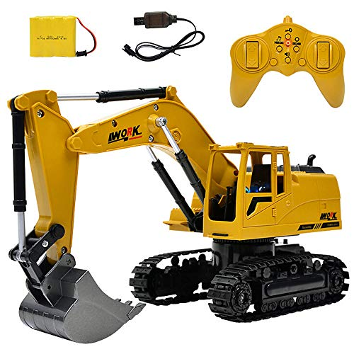 Wireless Remote Control Construction Vehicle Truck Electric Toy,8 Channel Metal Diecast Excavator,Heavy Metal Excavator Model Free Wheeler Die Cast Construction Toy 1:24 Scale,Gift for Boy (Yellow)