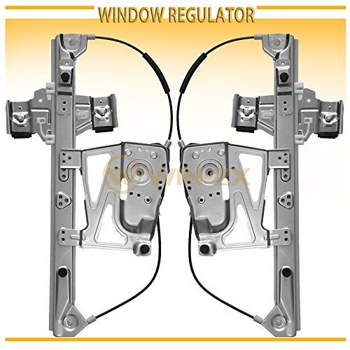 WIN-2X New 2pcs Front Driver & Passenger Side Power Window Regulators Without Motor Fit 00-05 Cadillac DeVille (Excludes Armored Option) ()