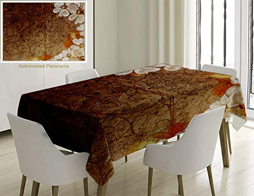Unique Custom Cotton And Linen Blend Tablecloth Grunge Collection Flowers And Leaves Pattern On Cracked Wall With Floral Lines Classic Deco Brown GoldTablecovers For Rectangle Tables, 70 x 52 Inches