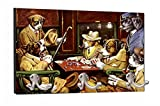 C.M. Coolidge's Dogs Playing Poker Painting - 8'' by 16'' Mountable Coat Hanger Rack Household Decoration with Three Double Silver Hooks