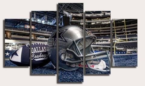 PEACOCK JEWELS [LARGE] Premium Quality Canvas Printed Wall Art Poster 5 Pieces/5 Pannel Wall Decor dallas cowboys sport Painting, Home Decor Pictures - Stretched (Canvas Dallas Poster)