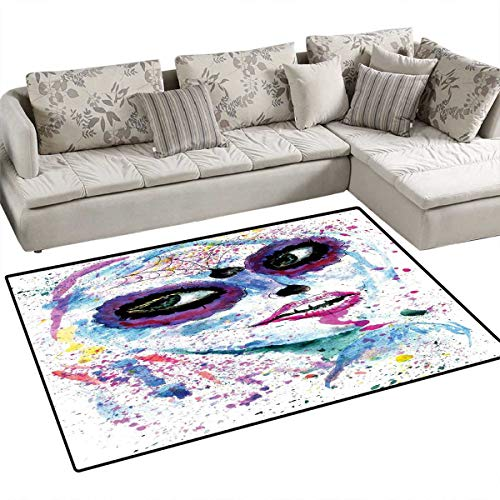 Girls Anti-Static Area Rugs Grunge Halloween Lady with Sugar Skull Make Up Creepy Dead Face Gothic Woman Artsy Children Kids Nursery Rugs Floor Carpet 4'x6' Blue Purple -