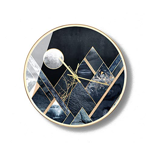 ZMYLOVE Modern Wall Clock,12 Inch Nordic Creative Fashion Round Metal Gold Clock Mute No Ticking Solar Movement Used to Decorate The Living Room Bedroom Study Kitchen,12inchesB