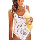 WM & MW Women Siamese Bikini Swimwear Sexy Backless Summer Floral One Piece Monokini Swimsuit Beachwear (L, White)