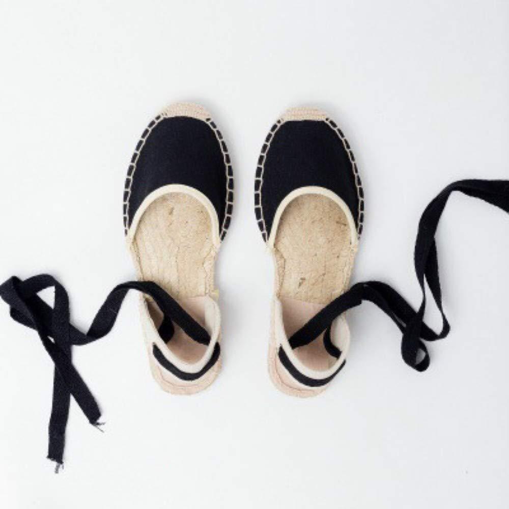 YOPAIYA Espadrilles Plat Loafers Chaussures Cross Strap pour Femmes, Pantoufles Confortables, Dames, Chaussures De Sport, Respirant Lin, Toile De Chanvre, Sandales Noires