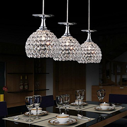 BOKT Perfectshow Modern Crystal Drop Pendant Light Chrome