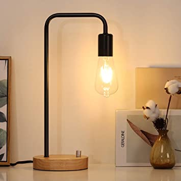 Minimalist Table Lamp Nightstand Desk Lamp Bedside Lamp Industrial Style With Wood Base For Living Room Bedroom Office College Dorm Black Amazon Com