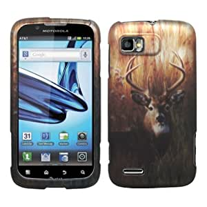 Deer Camouflage Outdoor Hunting Design Rubberized Snap on Hard Shell Cover Protector Faceplate Skin Case for AT&T Motorola Atrix 2 MB865 + LCD Screen Guard Film + Mini Phone Stand + Case Opener