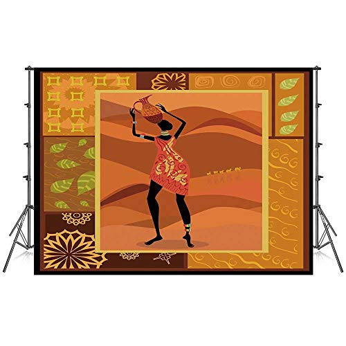 African Woman Stylish Backdrop,Frame with Natural Autumn Elements Native Girl with Vase Exotic Zulu Print Decorative for Photography Festival Decoration,86''W x 59''H ()