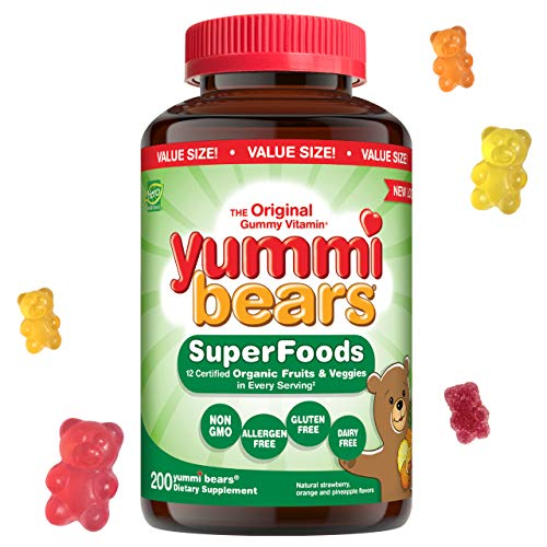 Yummi Bears Wholefood and Antioxidants Gummy Vitamins for Kids, 200 Count (Pack of 1)