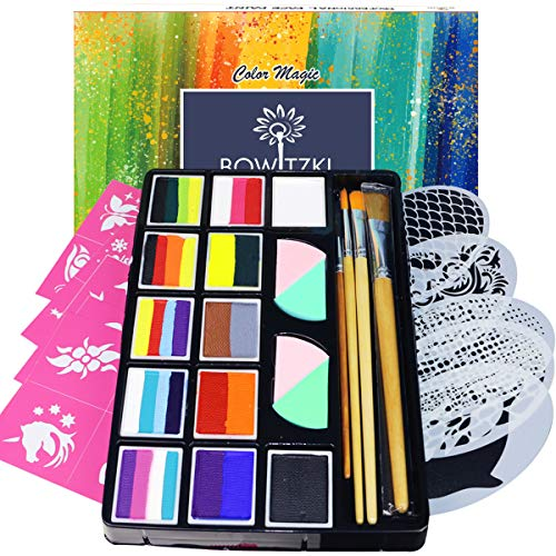 Bowitzki Professional Face Painting Kit for Kids Adults 12 x 10gm Face Paint Set with Stencil One Stroke Split Cakes Palette Non Toxic Rainbow Flora Dolphin Unicorn Flame Body Paint