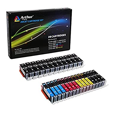 Arthur Imaging Compatible Ink Cartridge Replacement for Canon PGI-250XL CLI-251XL (12 Large Black, 4 Small Black, 4 Cyan, 4 Yellow, 4 Magenta, 28-Pack)