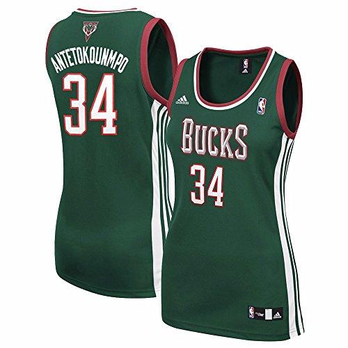 Giannis Antetokounmpo Milwaukee Bucks NBA Adidas Women's Green Replica Jersey (L)