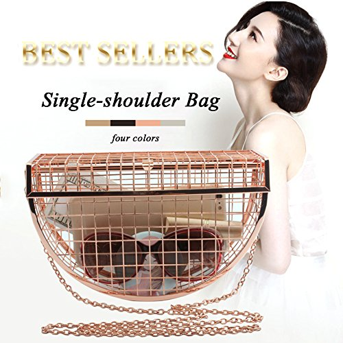 Style Unique Chic Yunhigh Evening Metal Women Crossbody Shoulder Gold with D Sling Rose Clutch Bag Handbag Chain Strap Bag Bag vU0v1