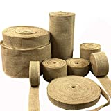 Godagoda Christmas Wedding Gift Pure Color Linen Strip Thick Hemp with European and American Rural Natural Jute roll;5m