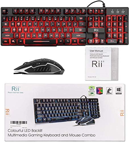 Rii Gaming Keyboard and Mouse Set, 3-LED Backlit Mechanical Feel Business Office Keyboard Colorful Breathing Backlit Gaming Mouse for Working or Primer Gaming,Office Device (RK108)