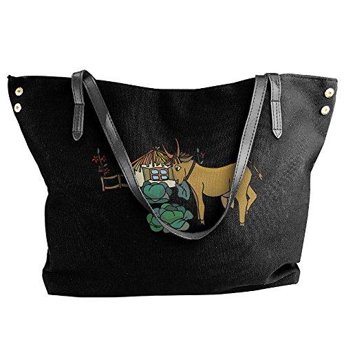 Canvas Large Handbag Black Hobo Women's Tote House Shoulder Bag And Tote Handbag Goat dqOaw5T