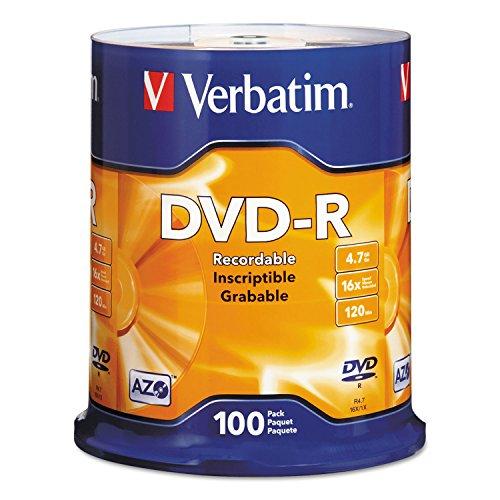 Verbatim 95102 DVD-R Discs, 4.7GB, 16x, Spindle, Silver, 100