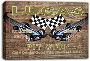 scpu1-0381 LUCAS Pit Stop Car Racing Game Room Stretched Canvas Print Sign