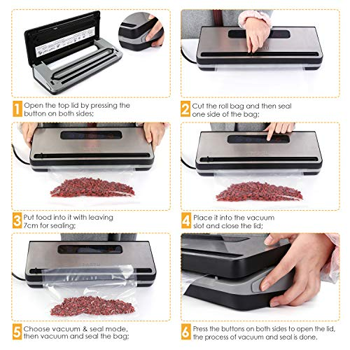 PARTU Vacuum Sealer Machine For Keeping Fresh On Summer Dry/Moist Mode || Include Vacuum Bag (11'' x 118'')Applicable to External Suction Pipe/Fresh-keeping Tank And Clothes Storage Bag by PARTU (Image #3)