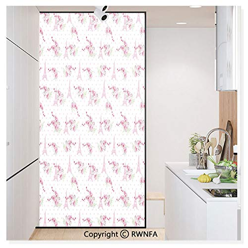 Decorative Window Films Kitchen Glass Sticker Spring Inspiration Pink Flowers Bouquet and Paris Landmark on Polka Dots Waterproof Anti-UV for Home and Office 11.8