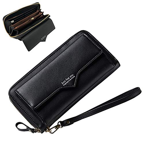Aeeque Wallet for Women, Ladies Wallet Coin Purse PU Leather Female Card Holder Wrist Strap Long Lady Clutch Handbag Zipper Pocket Organizers for Samsung S9 S8 S7/iPhone X 8 7 6 6S Plus, Black - Cd / Dvd Wallet Zipper